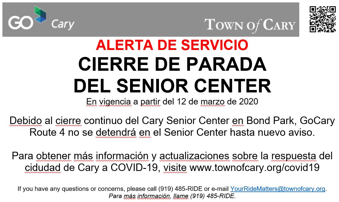 Senior Center Closure Spanish